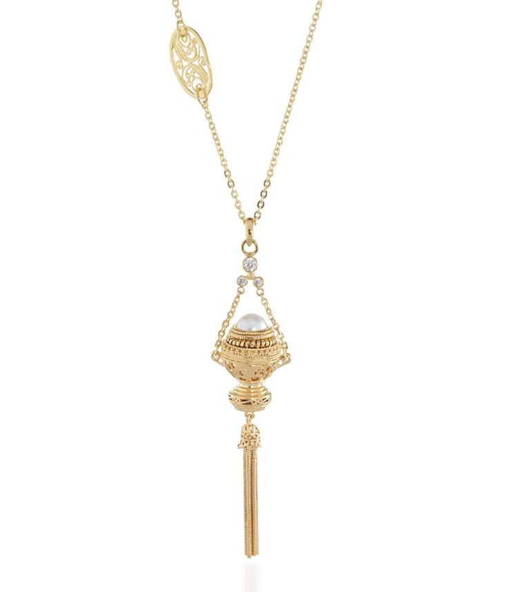 Tulola Canang Pearl Pendant with Tassel Gold Dip http://www.shoptulola.com/collections/canang-pearl-pendant-with-tassel.html #SophieParis