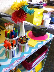 Chevron bookshelf in the Happy and Bright Classroom