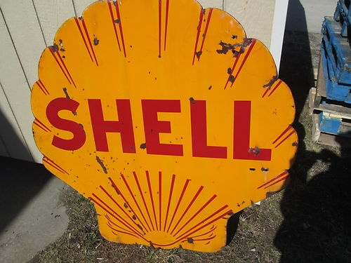 Old Vintage Porcelain Shell Sign not Neon Gas Oil Pump Car Garage Man Cave Great | eBay