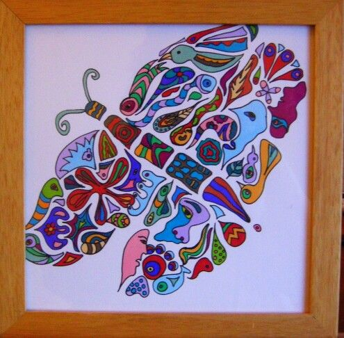 Butterfly. Drawing by marjacq.art. in frame 20 x 20 cm.