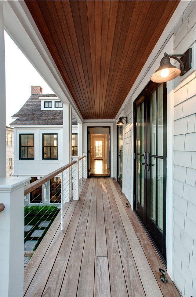 Balcony Design Ideas. Balcony with modern railings and coastal lighting. #Balcony #Railings