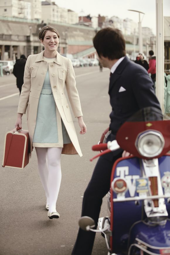 1960s mod inspired engagement shoot, shot in Brighton.  Photography by http://www.celinechaplinphotography.com/