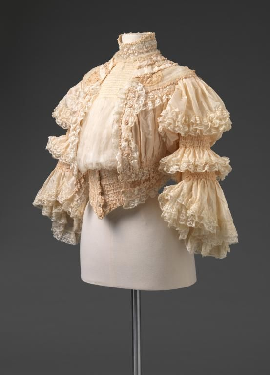 Bodice ca. 1905 || This overly ornate bodice is the perfect example of the bridge between the late Victorian and Edwardian period. The heavy texture created by the typically delicate leave is of particular interest.