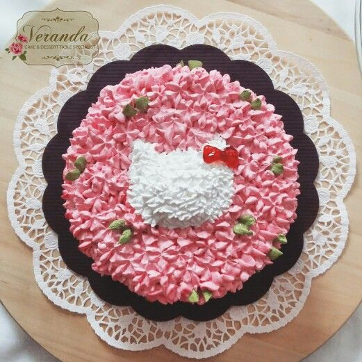 Hello Kitty Hydrangea Cake