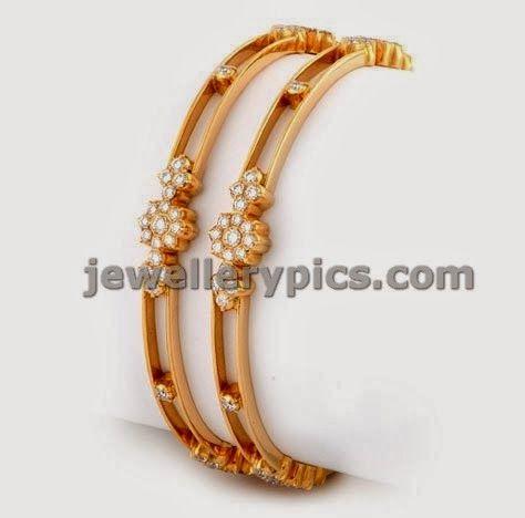 ANS jewels Diamond bangle models - Latest Jewellery Designs