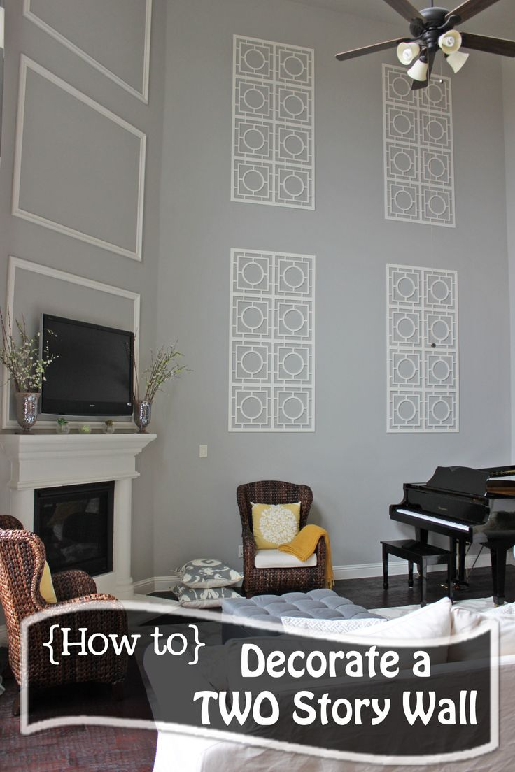 How to decorate a two story wall what to do with those - Cheap wall decals for living room ...