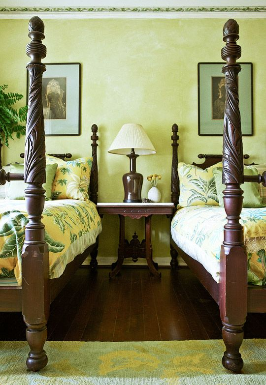 Chartreuse Guest Room Tropical Themes Abound In This