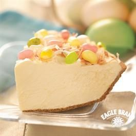 It's not Easter without Easter Hunt Pie from Eagle Brand® Sweetened Condensed Milk. Simply beat cream cheese until fluffy then gradually beat in sweetened condensed milk until smooth.  Add water and pudding mix and beat until smooth on low speed before gently folding in whipped topping. Spoon filling into graham cracker pie crust and chill 3 hours. Garnish top of pie with jelly beans, marshmallow candies and toasted coconut as desired and serve.