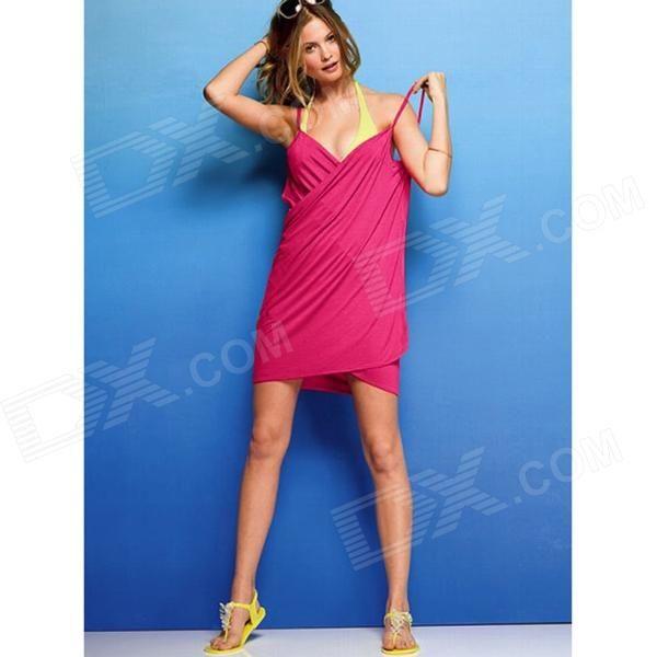 Creative Sleeveless Dress Bath Beach Towel - Deep Pink