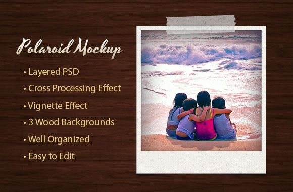 FREE Polaroid mockup template for Photoshop