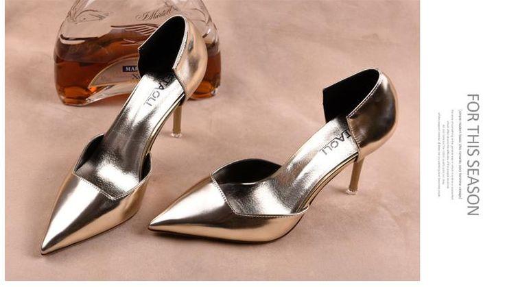 Frühjahr 2015 Wird Die Europäische Und Amerikanische Silber Wies Hochhackigen Schuhen Ferse Hohl Einzelnen Schuhen Gold Braut