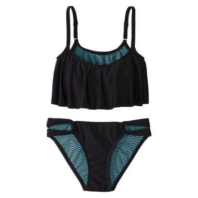 Xhilaration® Junior's Hanky 2-Piece Swimsuit -Black