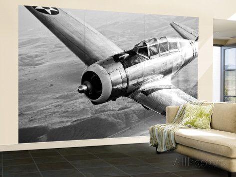 A Republic AT-12 Guardsman Aircraft in Flight Wall Mural – Large van Stocktrek Images - bij AllPosters.be
