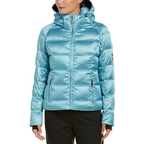 Skea Eve Down Parka (350 CAD) ❤ liked on Polyvore featuring outerwear, coats, activewear, blue, quilted parka, patch coat, blue parka coat, quilted coat and blue quilted coat
