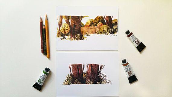 Zwei Postkarten mit wundervollen Baumillustrationen (sowie deren Bewohner) - von Iraville.