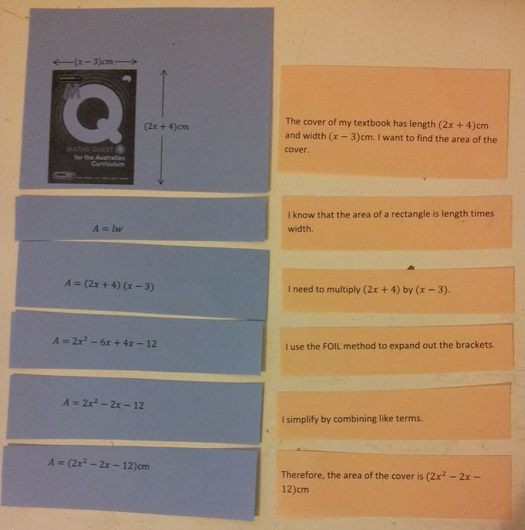 My Year 9s were still struggling with expanding binomials when we got to worded problems, so I did this little matching activity with them. Each pair of students was given an envelope with jumbled slips of paper and they had to put the solution in order and match the explanations to each line of working.