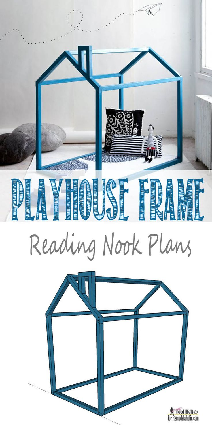This is so cute and clever and may be a do instead of a teepee !Free and easy DIY Playhouse Reading nook plans on Remodelaholic.com