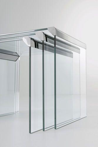 Tavolini estraibili moderni in vetro T 35 TRIO by P. Gallotti Gallotti&Radice