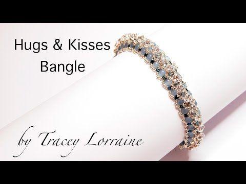 Beadwork bangle tutorial - Hugs and Kisses - by CrystalStarGems - YouTube