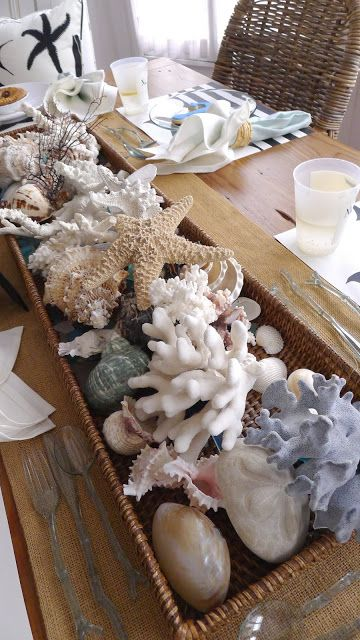 #beach cottage - love the shells in the basket as the table centerpiece