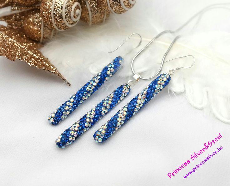 """Kék és színjátszó Swarovski kristályos """"jégcsap"""" ezüst szett  Részletek: www.princessilver.hu"""
