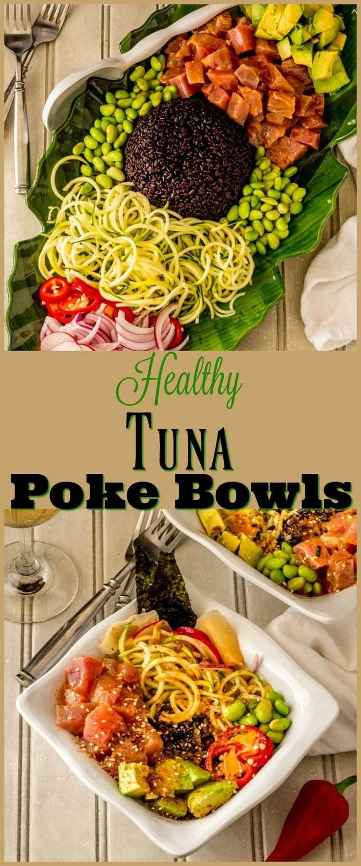 Healthy Tuna Poke Bowl - Chunks of succulent raw ahi tuna dressed up with a light sesame ginger vinaigrette star in my customizable Healthy Tuna Poke Bowl... This nutritious powerhouse dish is bursting with flavor, and so quick and easy to make! fresh tuna recipes   poke bowl recipe   main dish salads