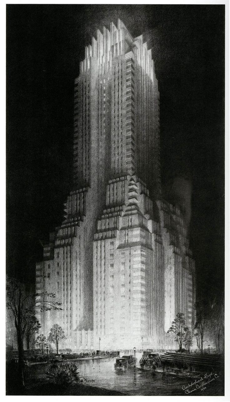 The Majestic Hotel 1930; illustration by Hugh Ferriss (via dieselpunks: paul.malon)