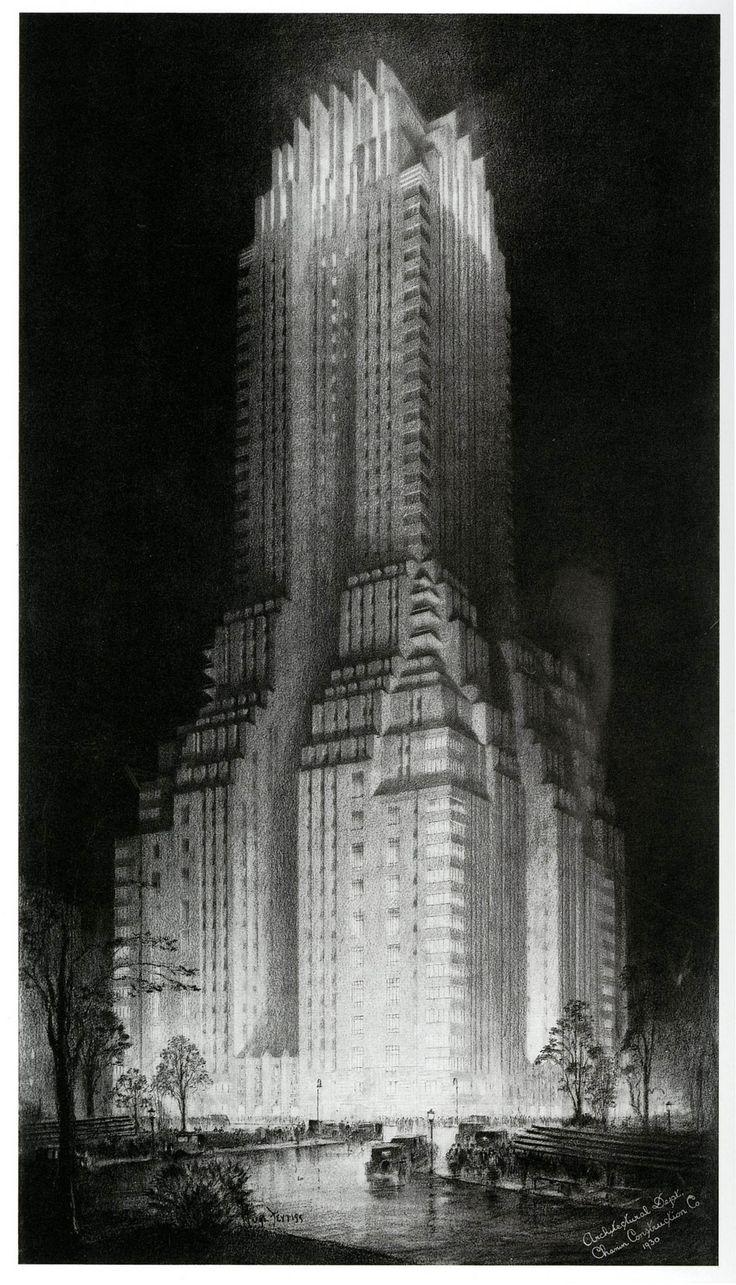 The Majestic Hotel 1930; illustration by Hugh Ferriss (via dieselpunks: paul.malon)