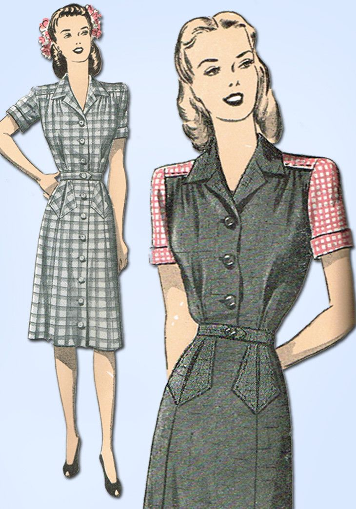 1940s Vintage Advance Sewing Pattern 3953 Uncut WWII Misses Dress Size 12 30B
