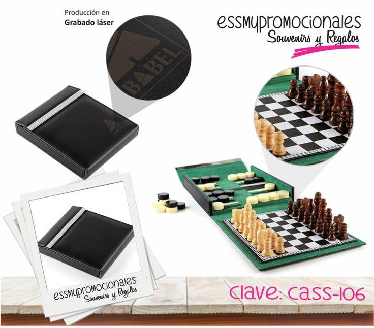 CASS-106 Set de juego de ajedrez, damas chinas y backgammon. Con caja de curpiel y terciopelo.   Tamaño: 19x16 cm. #Promocionales #Souvenirs #Regalos #EssmyPromocionales