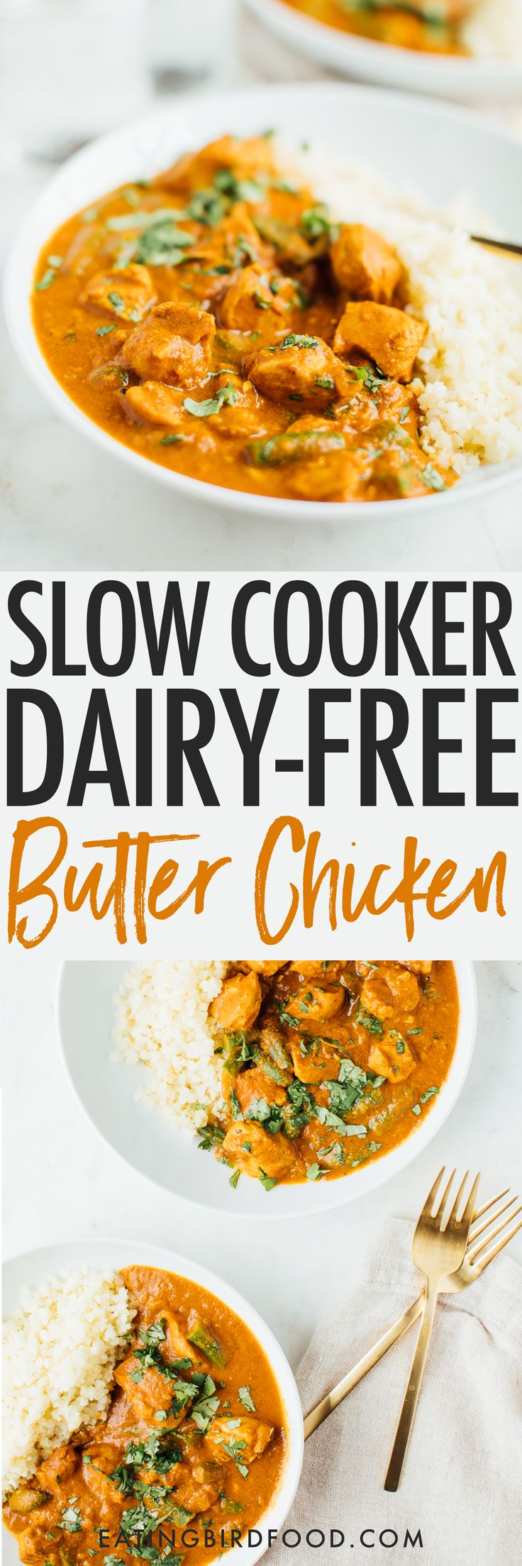 A lightened up version of an Indian food classic, you'll love this slow cooker dairy-free butter chicken recipe made with coconut oil and coconut milk. It's loaded with flavor and absolutely delicious served over cauliflower rice. Paleo, grain-free and dairy-free. #trusttheleaf #AD @naturesway