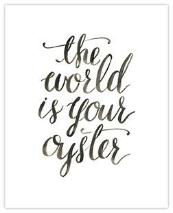 Hand Painted The World Is Your Oyster Art Print *2 SIZES