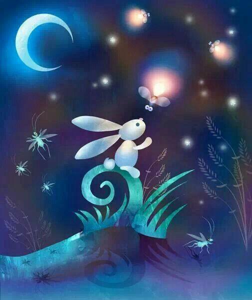 Illustrator David Corsetti ♥ #bunny #fireflies #moon