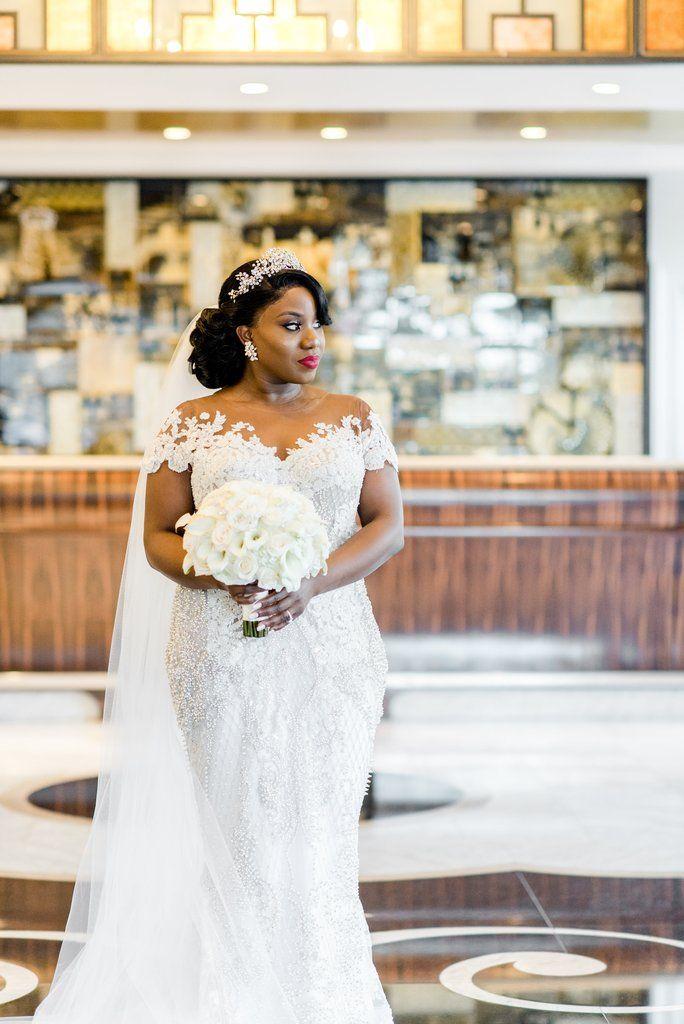 c3c040d9eae Ese Azenabor  Custom  size 12 used wedding dress front view on bride ...