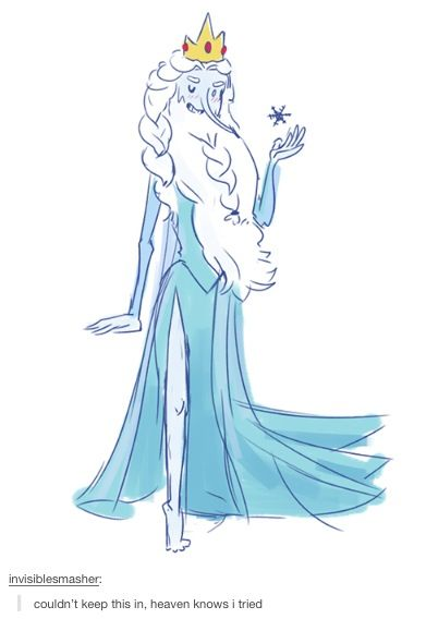 The best part is that it's totally imaginable for ice king to dress up as elsa XD