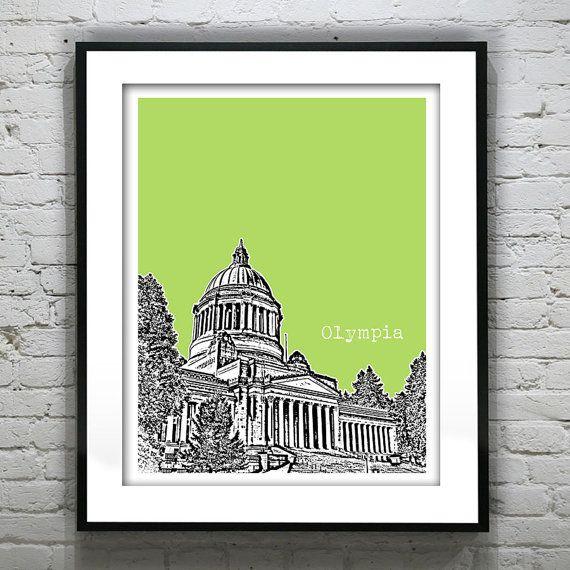 Olympia Washington Poster Skyline Art Print on Etsy, $18.95