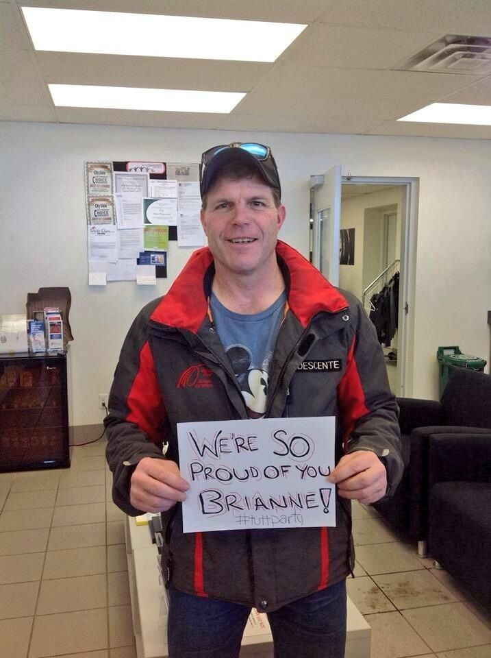 Look who we found! The man who cleans Brianne's ice! He was cheering her in from our customer lounge