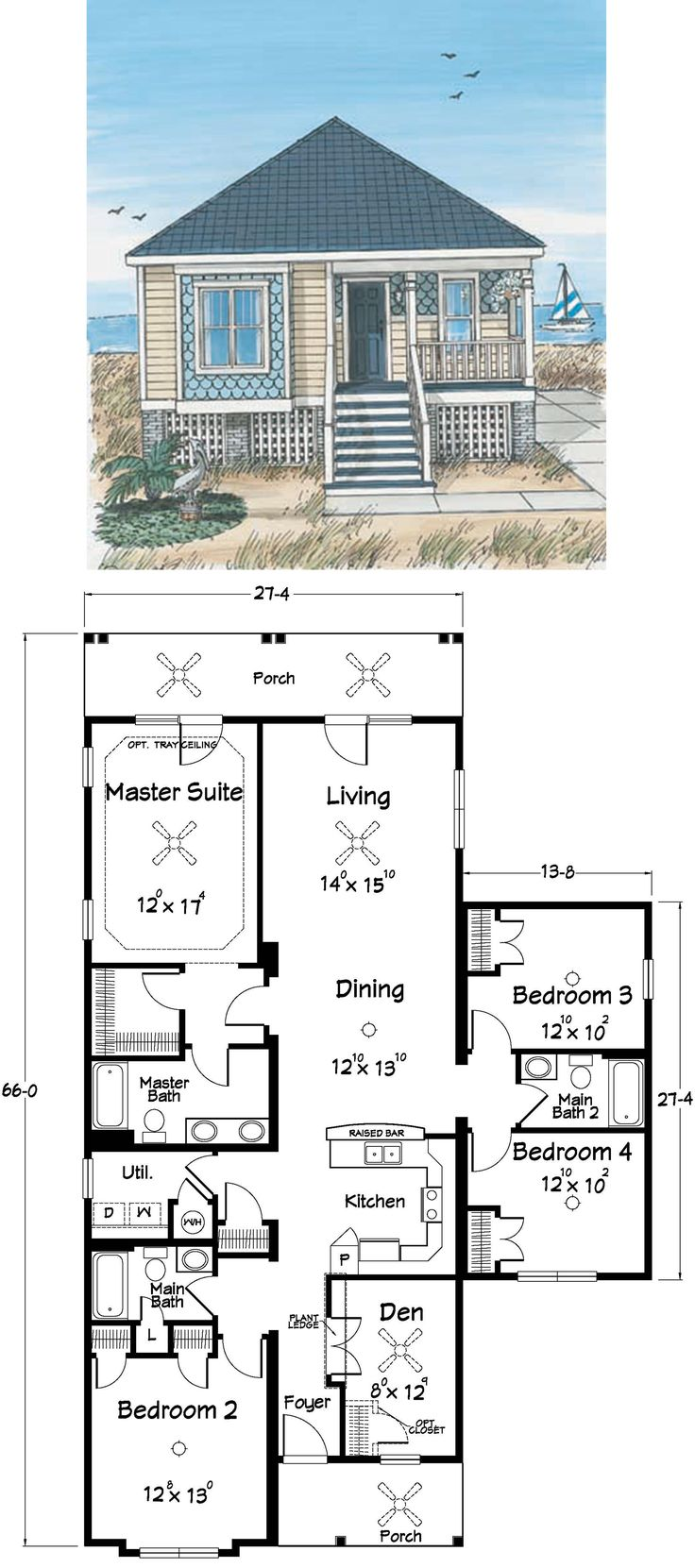 Beach House Plans, I would add an office area next to bedroom 3 and a creative studio next to room 4,  as well as having the porch going around the house