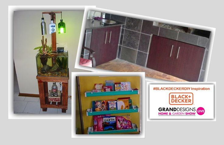 We're so excited by some of the #BlackDeckerDIY entries we've received this week: A pallet to aquarium stand, installation of new cupboards and rain gutter bookshelves.  How to enter: 1)	Take before and after pictures of your DIY project. 2)	Post your pictures to the Grand Designs Live Facebook page with a description of the project and including our hashtag #BLACKDECKERDIY. Alternatively, images and the description can be emailed to competitions@granddesignslive.co.za