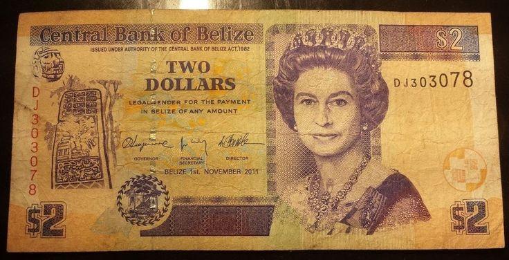 Belize 2 Dollars Banknote Queen Elizabeth Cash Central American Paper Money