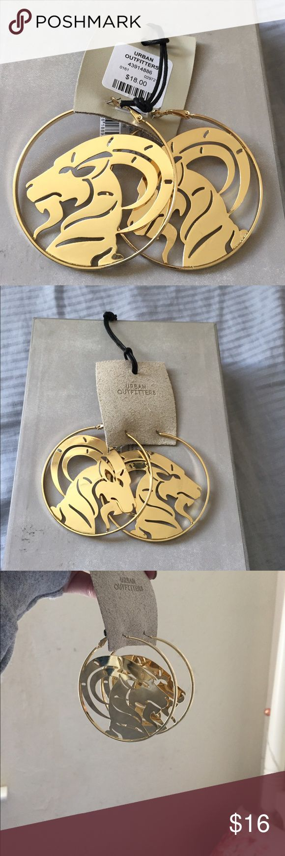 • nwt UO capricorn earrings • capricorn star sign hoop earrings from UO/urban outfitters. swanky and very 90s! you def don't have to be a capricorn to wear these. they're large and a total statement piece.   purchased for $18. Urban Outfitters Jewelry Earrings