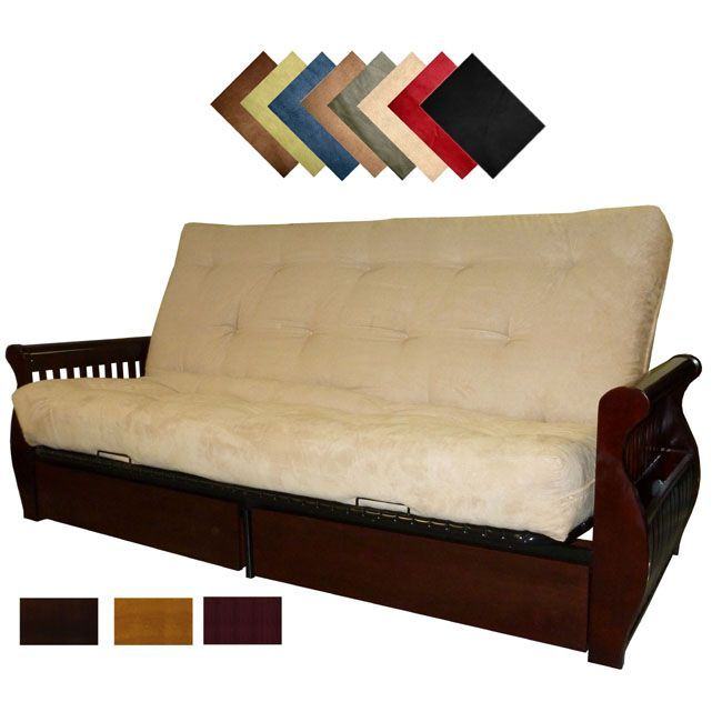 The Lexington futon sleeper with its built in magazine rack and drawers is both a comfortable sofa and bed. With several kid-proof, pet-proof suede colors and multiple wood finish options, the Lexington is a stylish addition to any decor.