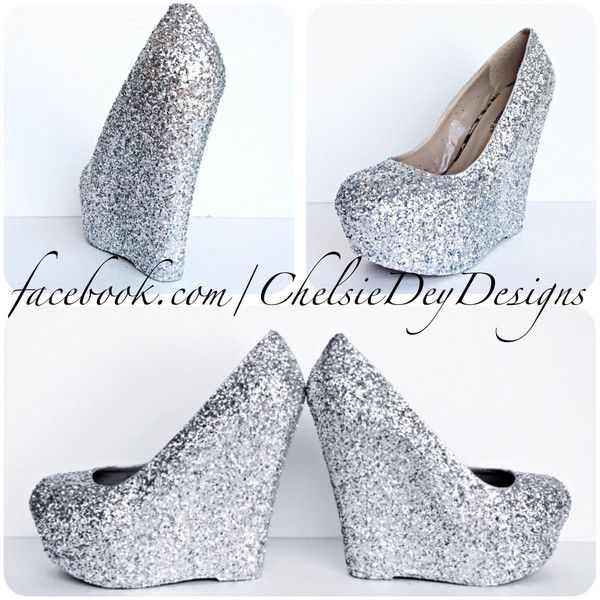 Silver Glitter Wedges Sparkly Platform Heel Glitzy Wedding Heels Prom... ($78) ❤ liked on Polyvore featuring shoes, pumps, black, women's shoes, platform wedge pumps, high heel pumps, silver prom shoes, silver wedge shoes and black sparkly pumps