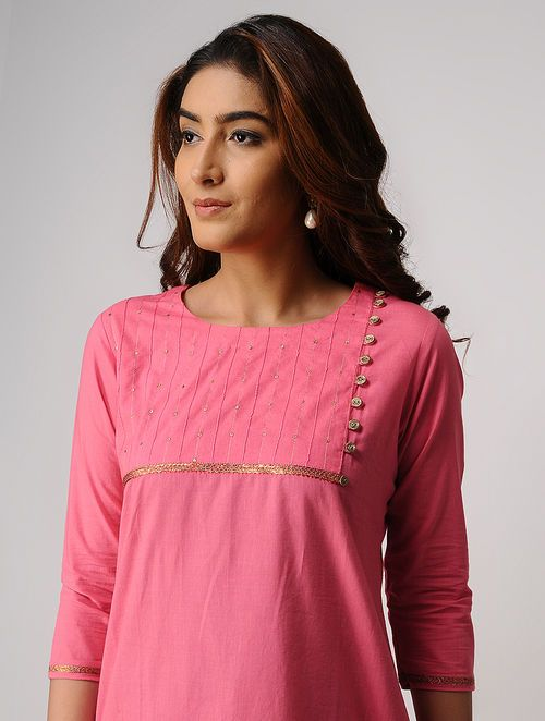 Pink Handwoven Cotton Kurta with Embroidery