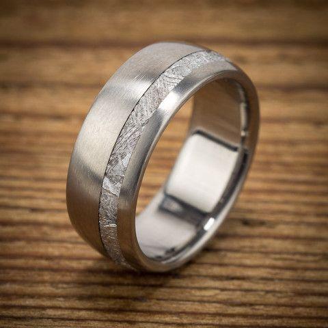 Titanium Meteorite Offset Wedding Band