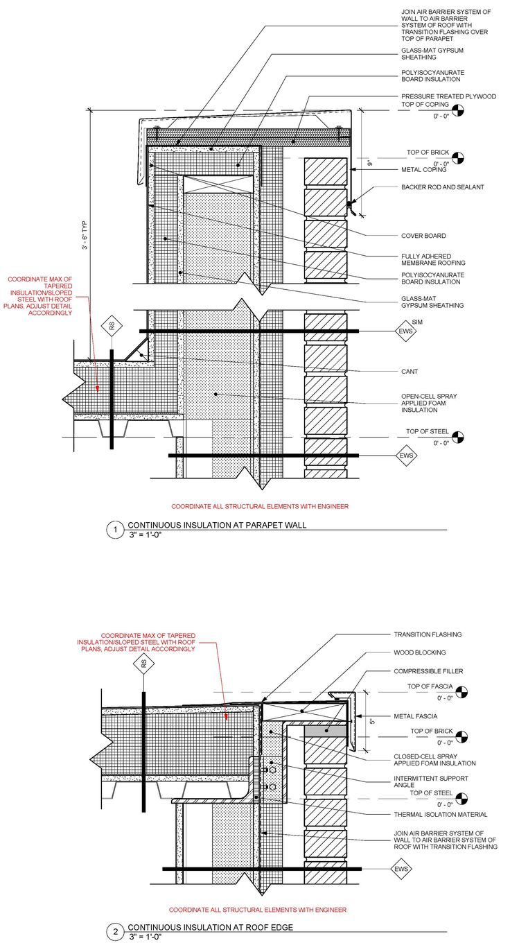 Auto cad drawings flat roof with parapet wall detail -  Revised Standard Detail Of Metal Framed Masonry Veneer Wall With Continuous Insulation At Parapet