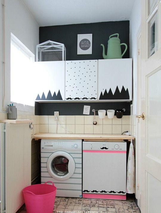 Un espectacular cambio de imagen para esta zona de lavado - Armario colada ikea ...
