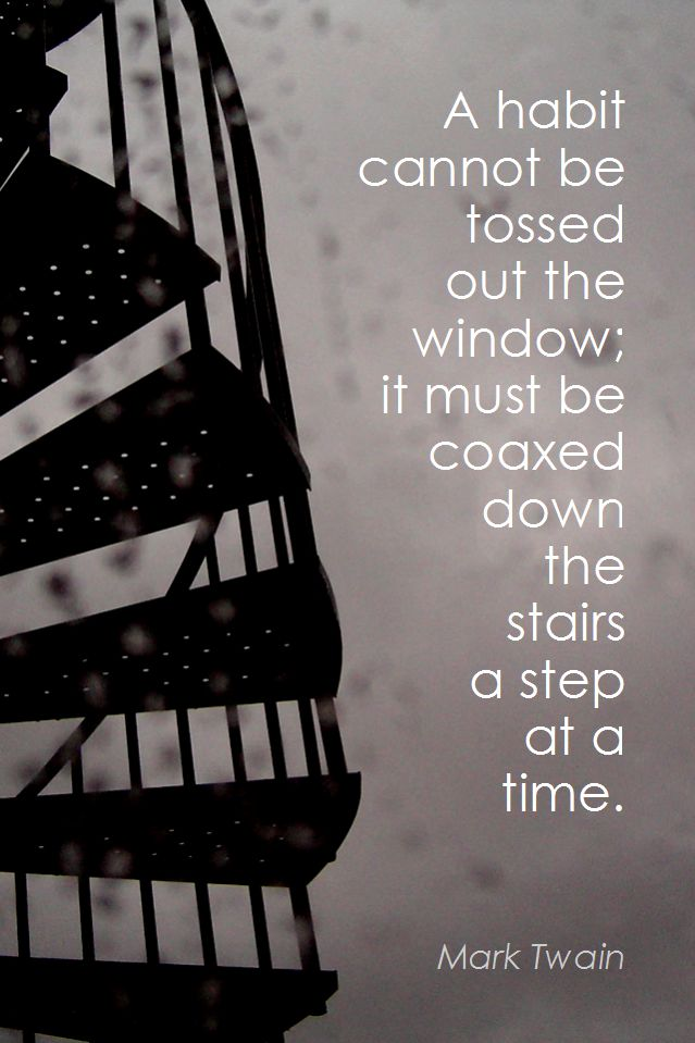 A habit cannot be tossed out the window. It must be coaxed down the stairs one step at a time.  Weekly inspiration for a successful personal and professional life.