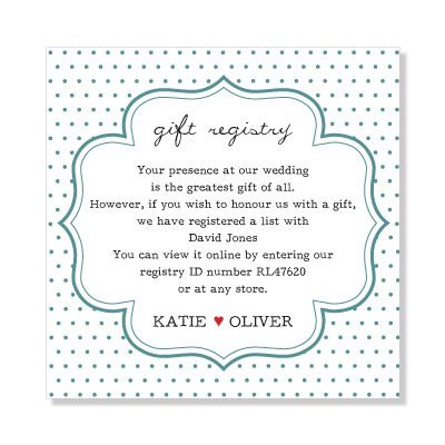 Wedding Gift Ideas If No Registry : ... Wedding gift registry on Pinterest Gifts, Bespoke and Gift list