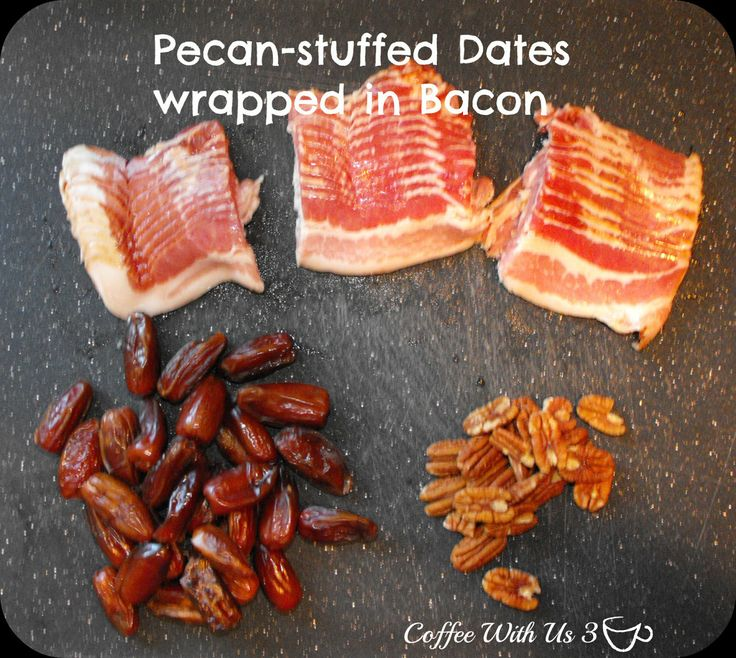 Pecan-stuffed Dates wrapped in Bacon. Sweet, salty, crunchy and chewy all in one? Yum!